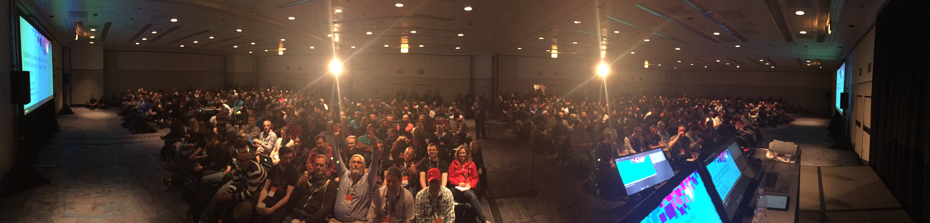 Panoramic from presentation stage of a huge attendence!