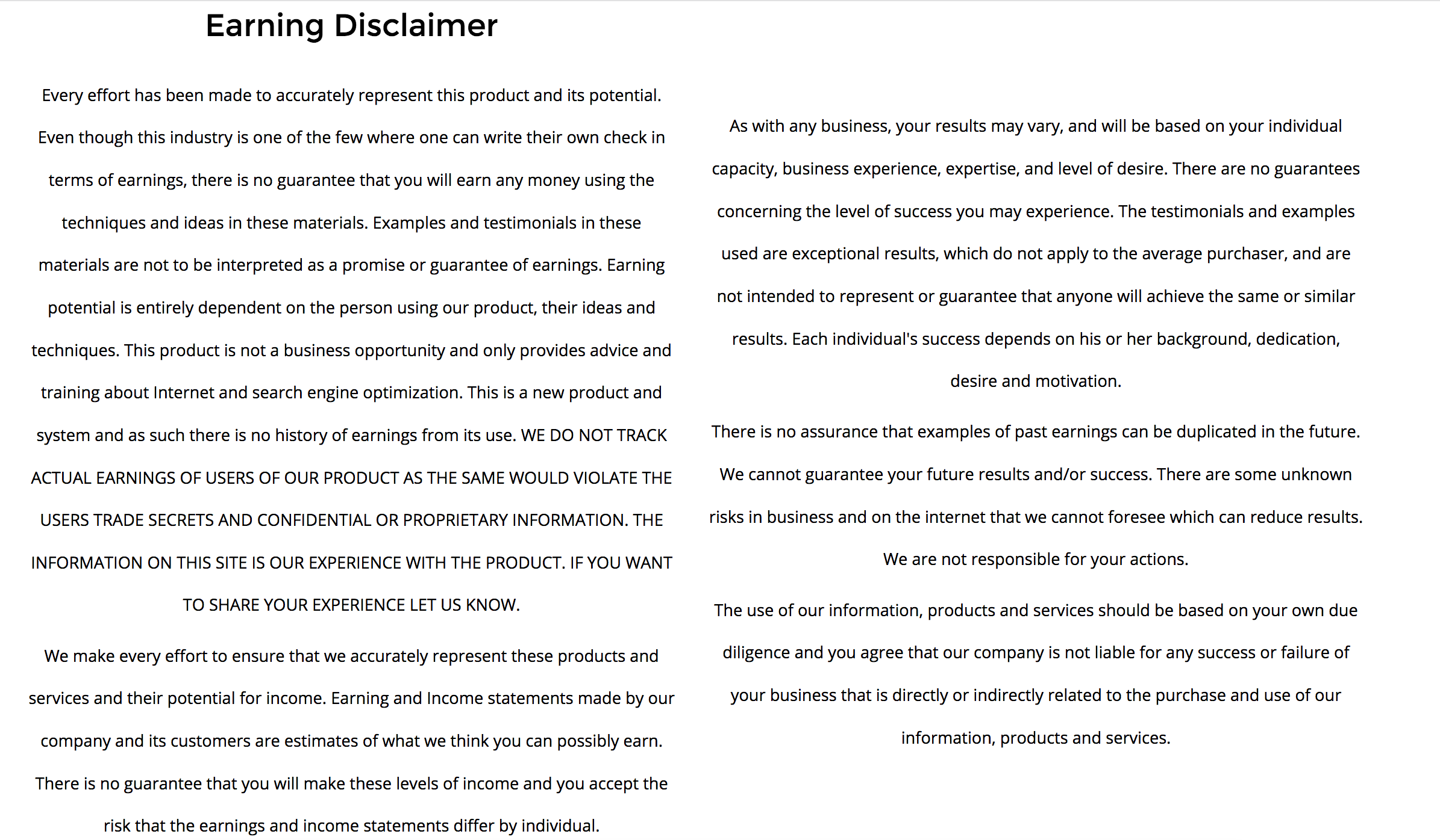 Earnings Disclaimer >> Earning Disclaimer