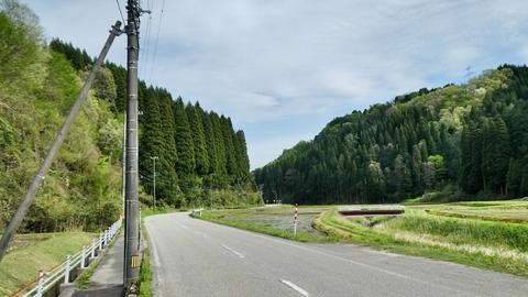 広い道。右の山の上に鉄塔南福岡線が見える