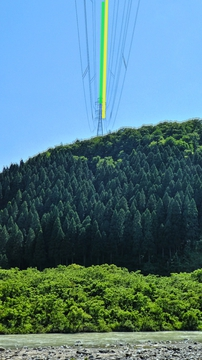 緑の能美線と黄色の鶴来第1線は手取川対岸へ、能美線4番・鶴来第1線4番