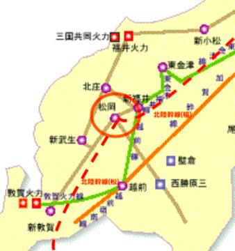 福井電力系統図と松岡変電所