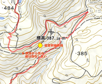 能登幹線135番周辺。ここも存在しない道があるので今回は迂回