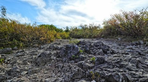 平らな岩場を登って頂上へ