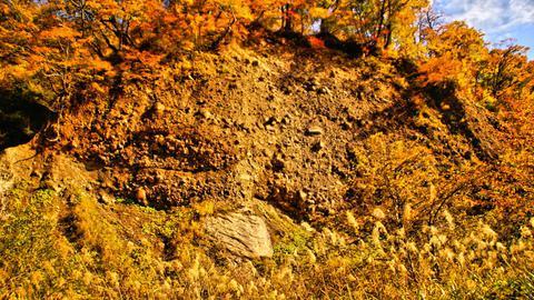 願教寺山大崩落で形成された幅ヶ平