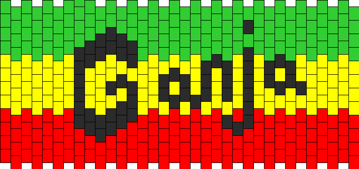 Ganja with rasta colors
