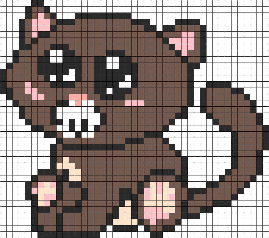 Brown Kitty Perler Bead Pattern / Bead Sprite