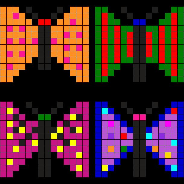 Cute Butterflys Perler Bead Pattern / Bead Sprite