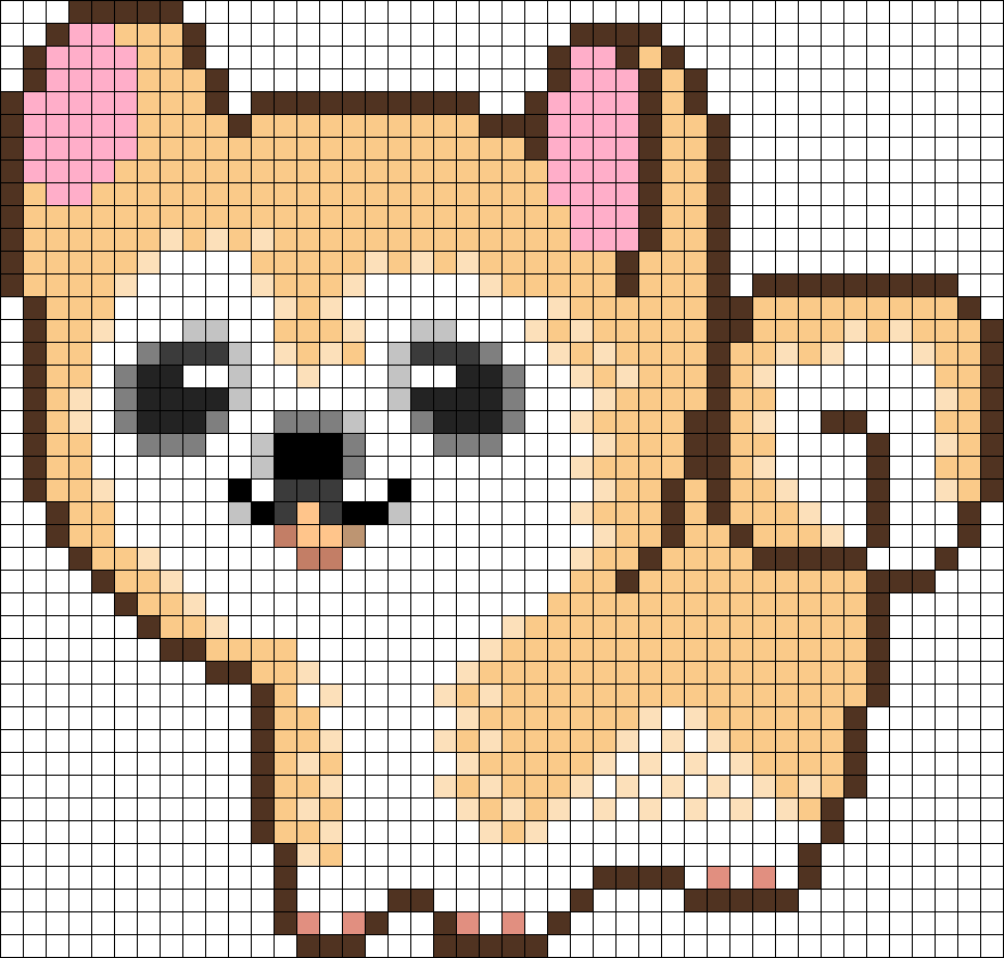 Cute Dog Perler Bead Pattern / Bead Sprite