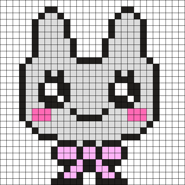 Kawaii Bunny With Bow Perler Bead Pattern / Bead Sprite