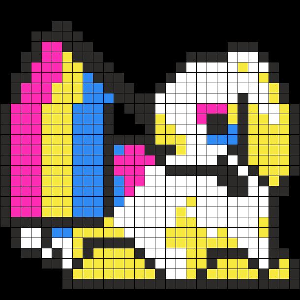 Pansexual Pride Rabbit Perler Sprite