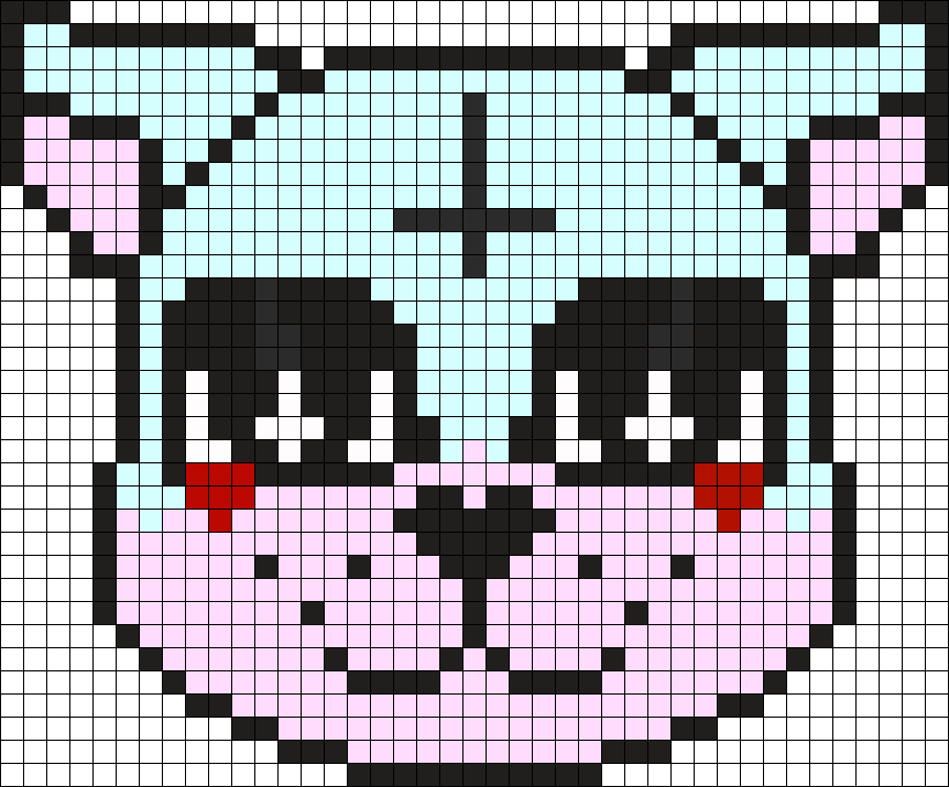 Upside Down Crss Pastel Goth Cat Perler