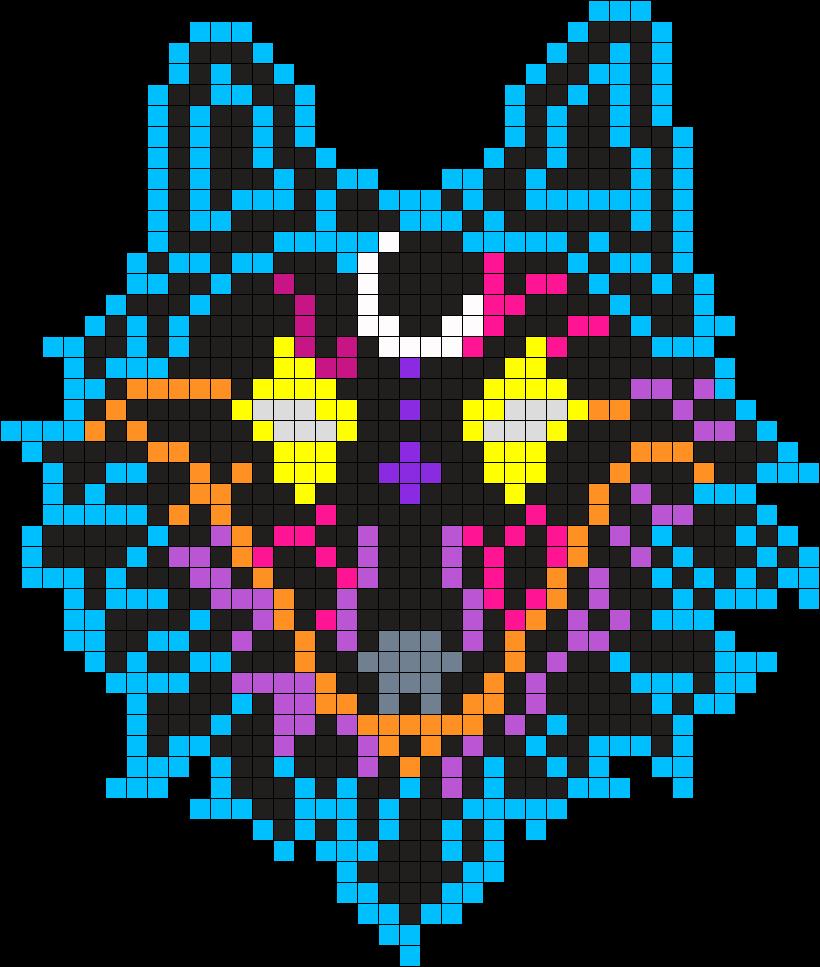 Galaxy Wolf Perler Bead Pattern / Bead Sprite