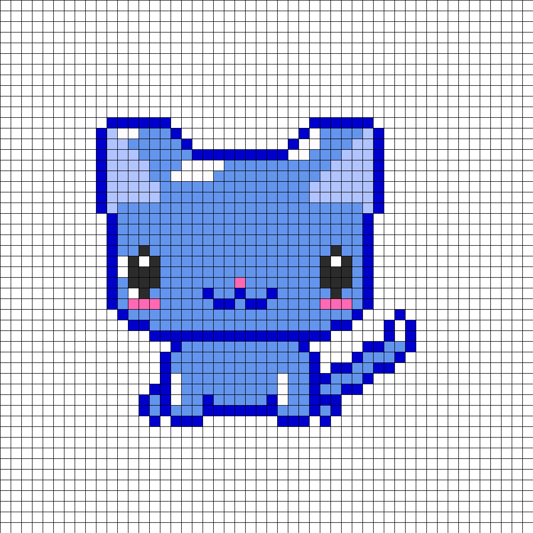 Shiny blue kitty perler