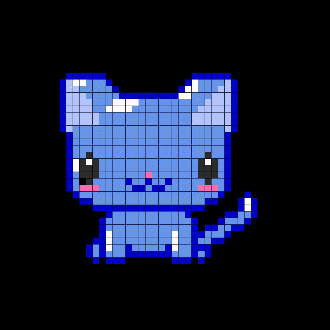 Shiny blue kitty perler