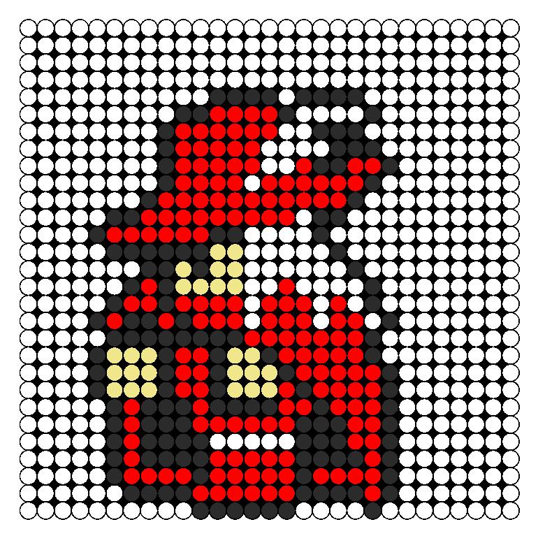Red Mage FFI Perler Bead Pattern / Bead Sprite