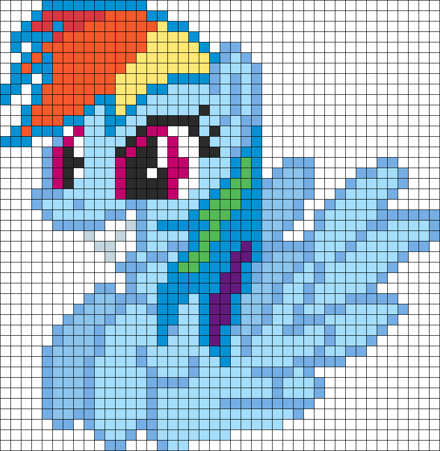 Happy Rainbow Dash Perler Bead Pattern / Bead Sprite