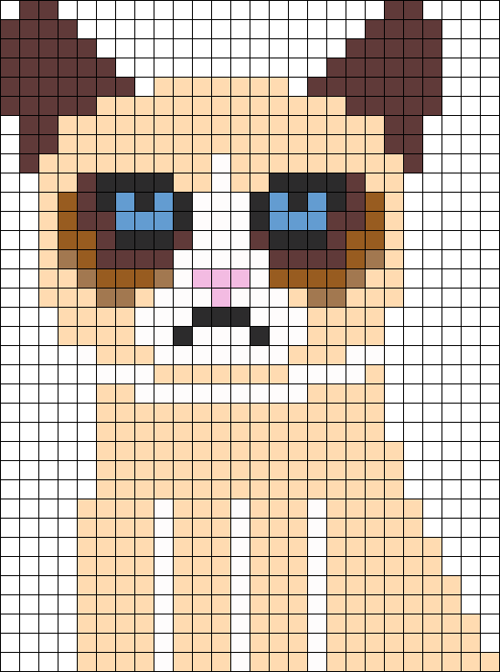 Tard The Cat Grumpy Perler Bead Pattern / Bead Sprite