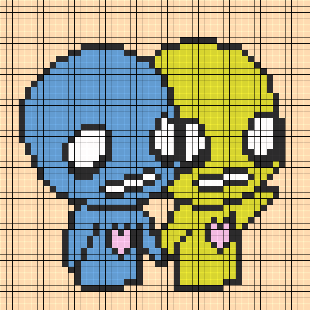 Pon And Zi Holding Hands Perler Bead Pattern Bead