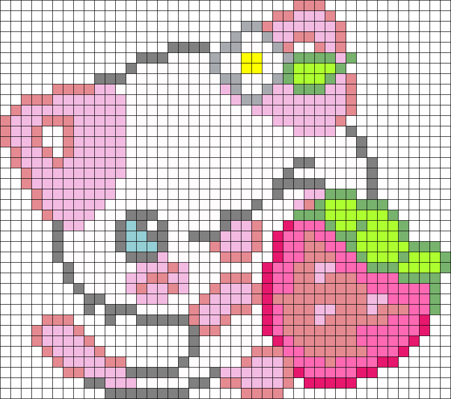 Pink Kitty Perler Bead Pattern / Bead Sprite