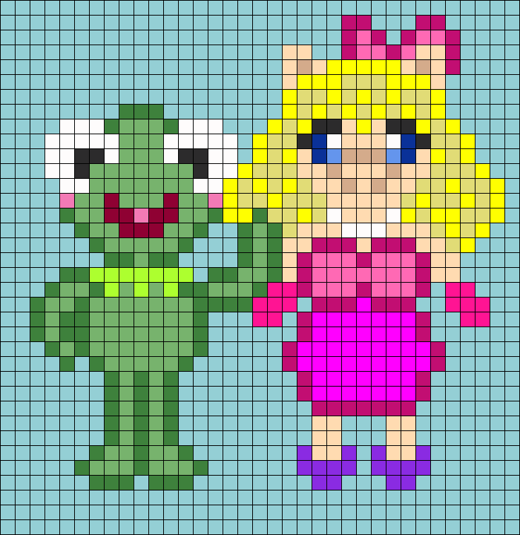 Kermit And Miss Piggy Perler Bead Pattern