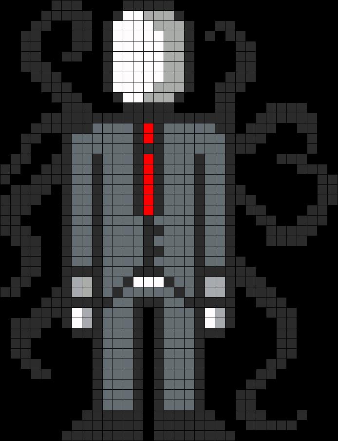 Slender man pixel art grid
