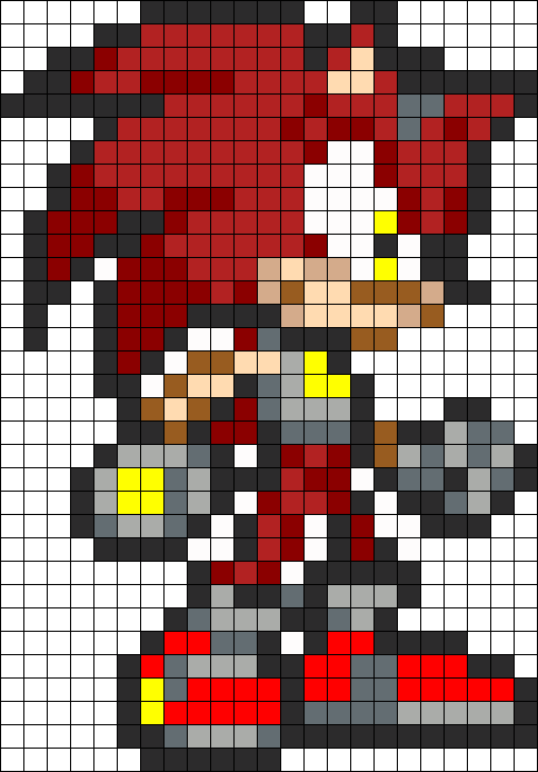 Knuckles The Hedgehog Perler Bead Pattern / Bead Sprite