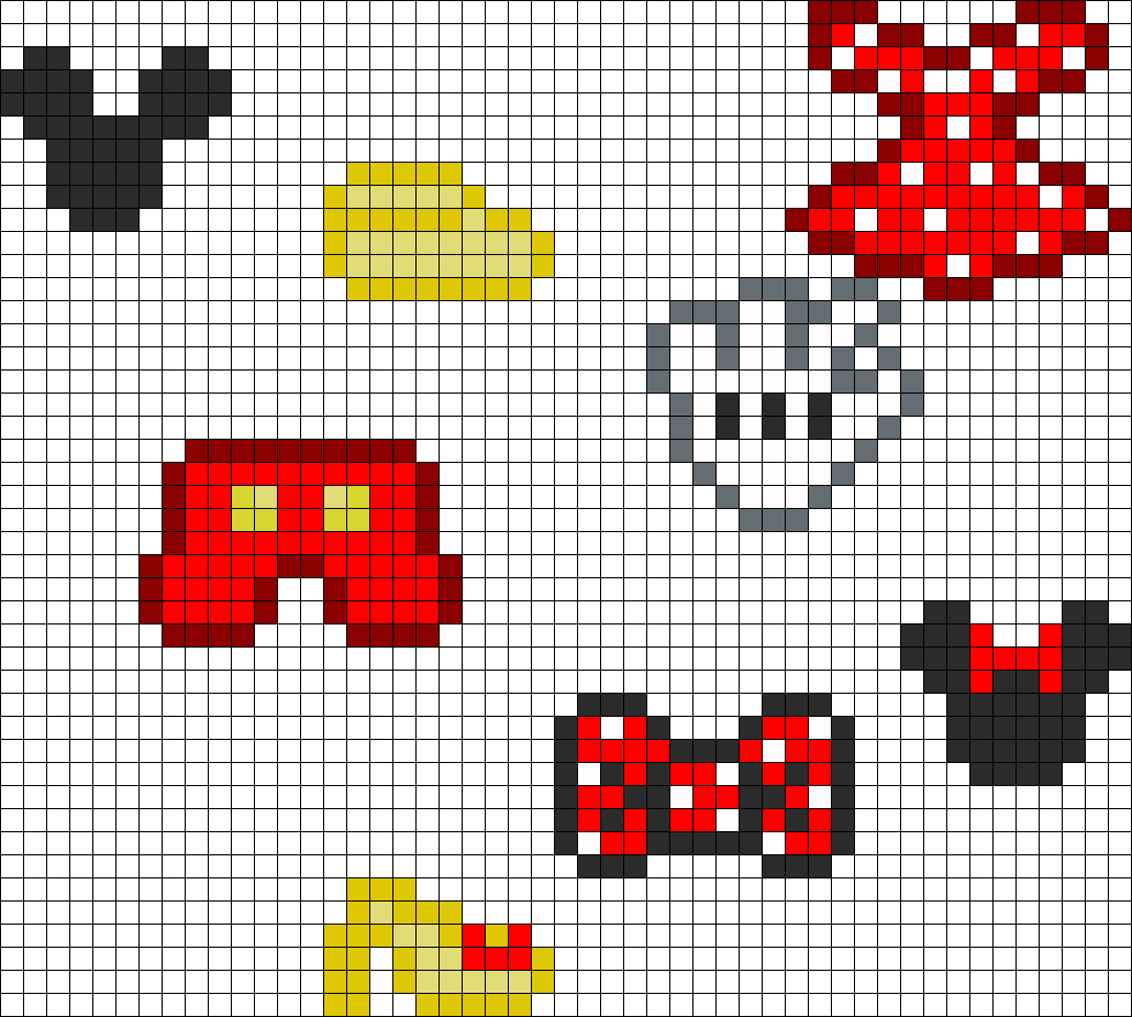 Mickey And Minnie Clothing And Head Charms Perler Bead Pattern / Bead Sprite