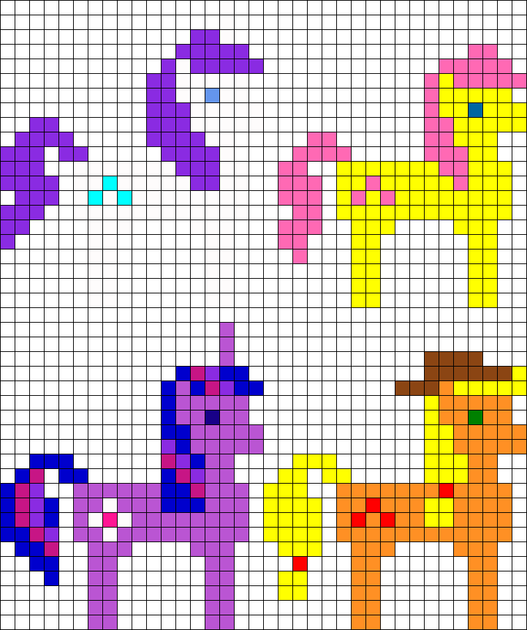 8 Bit MLP FIM Rarity Fluttershy Twilight Sparkle And Apple Jack