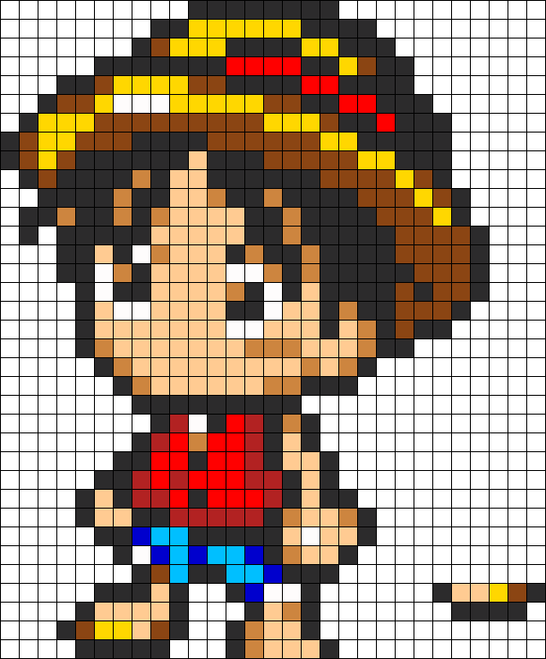one piece cutie luffy perler bead pattern