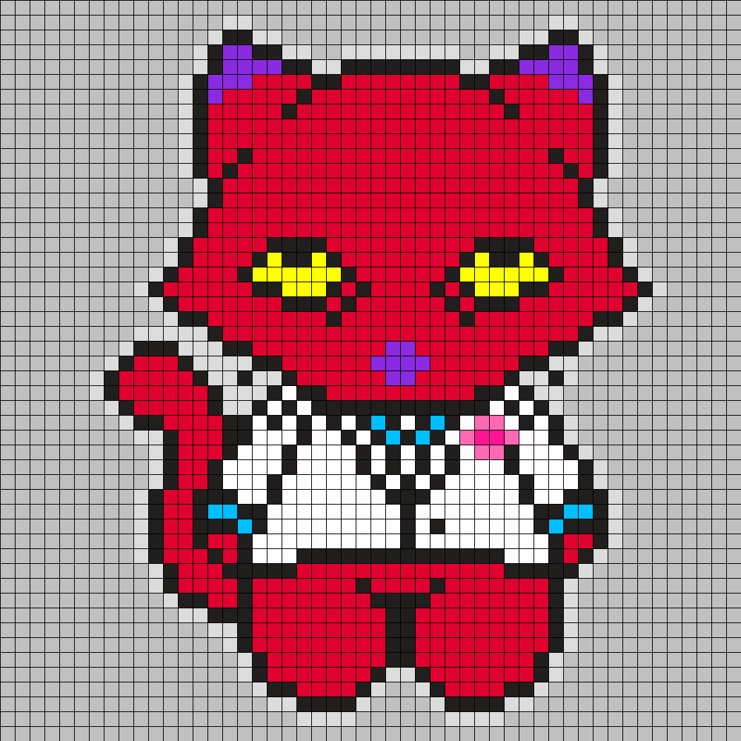 Katz From Courage The Cowardly Dog Square Grid Perler Bead Pattern / Bead Sprite