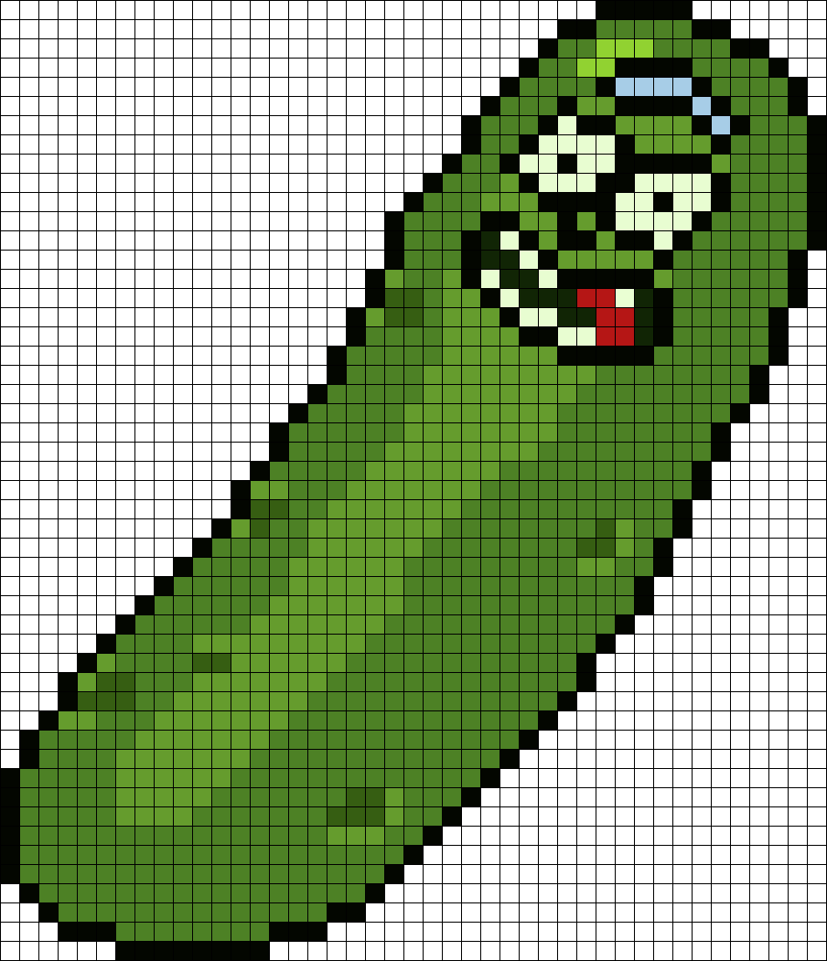 Badly Proportioned And Colored Pickle Rick From Rick And Morty Perler Bead Pattern / Bead Sprite