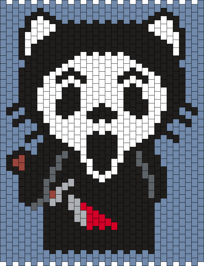 Ghostface (from Scream) Hello Kitty Bead Pattern