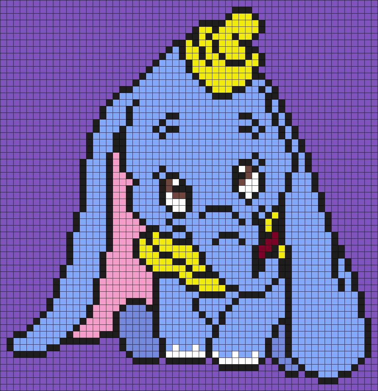 Dumbo (Square) Perler Bead Pattern / Bead Sprite