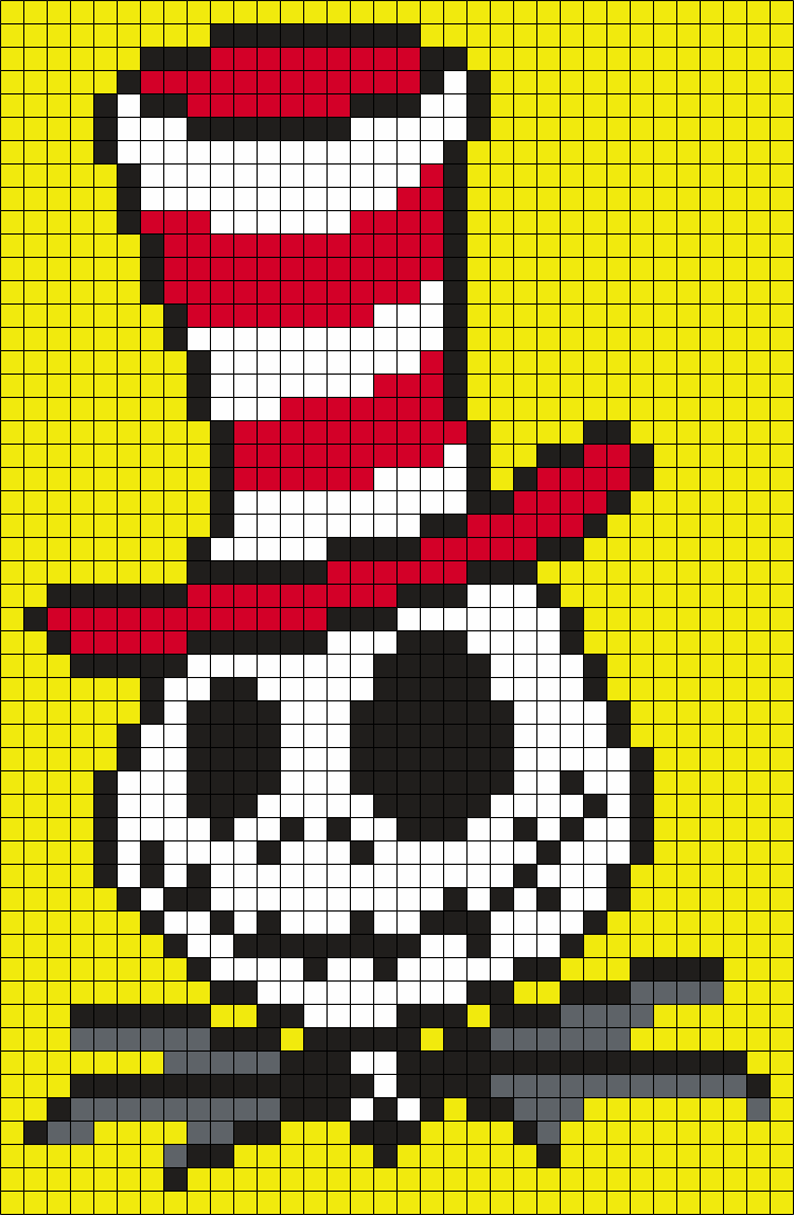 Jack In A Hat From The Cat In The Hat (Square) Perler Bead Pattern / Bead Sprite