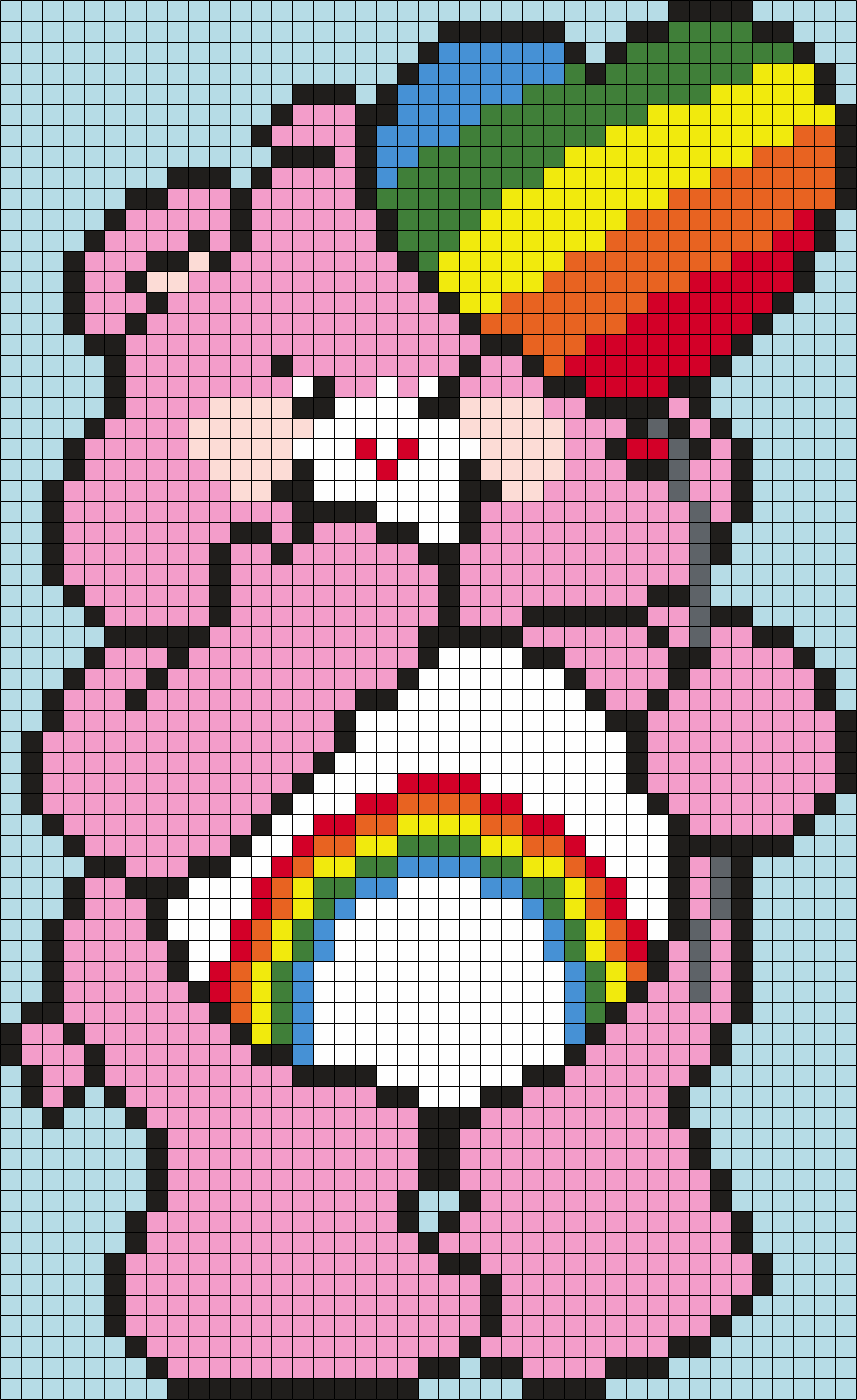 Cheer Bear From The Care Bears (sq) Perler Bead Pattern / Bead Sprite