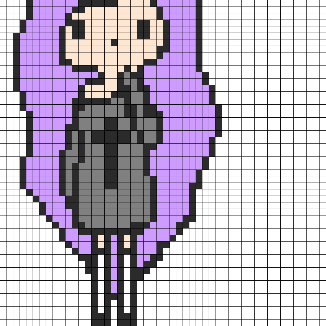 Pastel Goth Tumblr Girl Part 1 Perler Bead Pattern / Bead Sprite