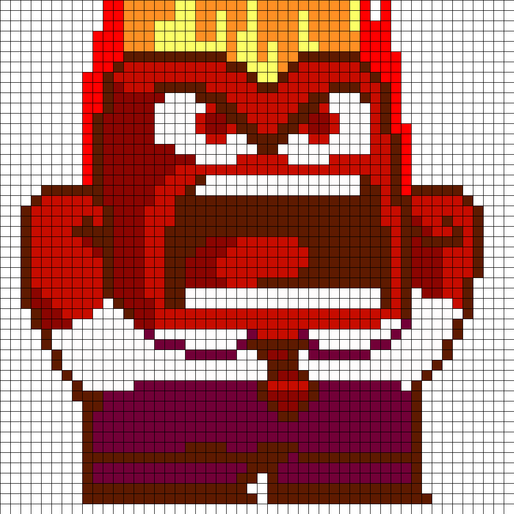 Anger From Inside Out Part 1 Perler Bead Pattern / Bead Sprite