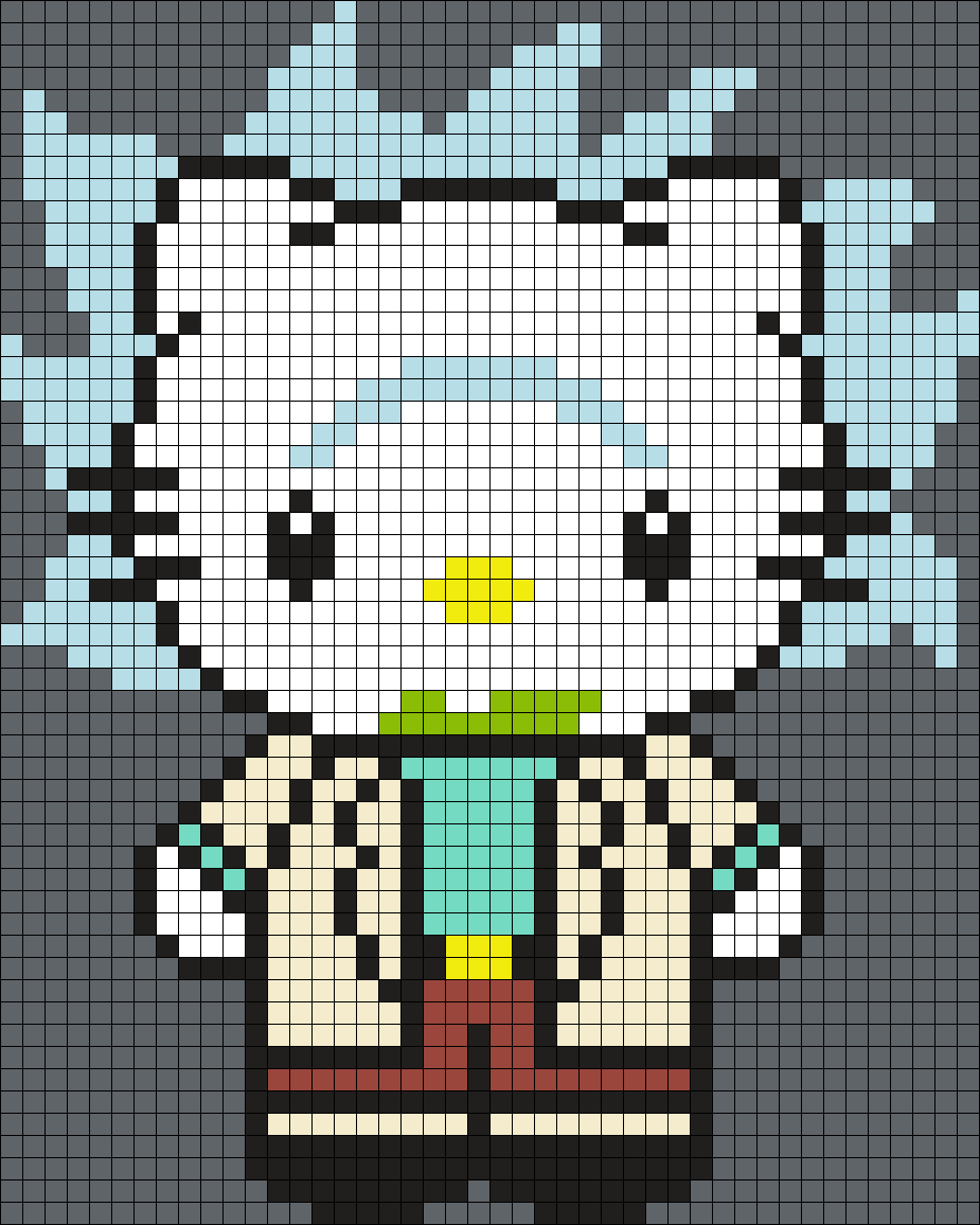 Rick Hello Kitty From Rick And Morty Sq Perler Bead Pattern / Bead Sprite