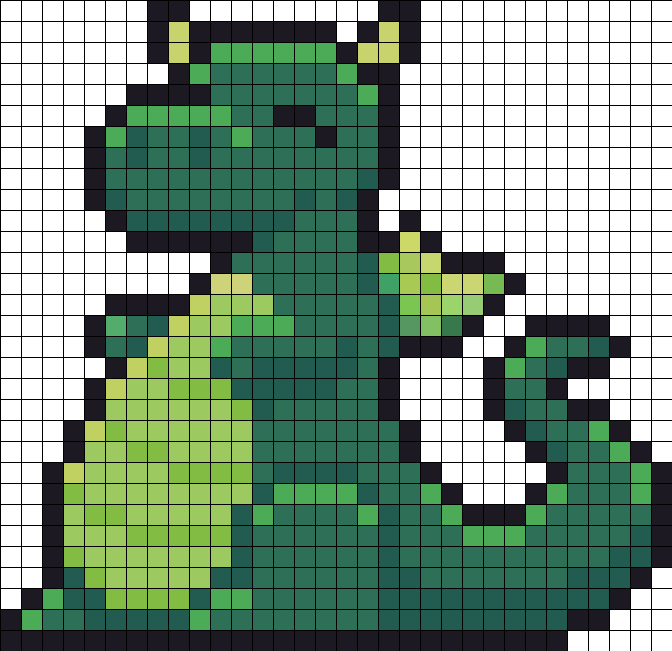 Happy Cute Dragon Perler Bead Pattern / Bead Sprite