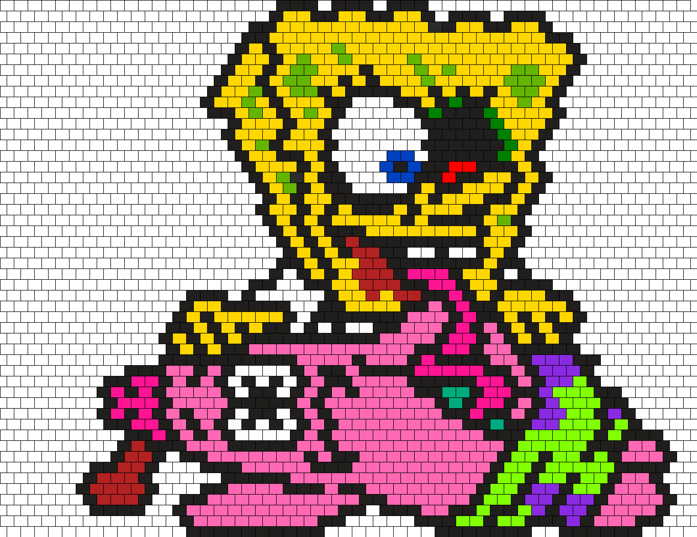 Zombie Spongebob Squarepants Peyote Bead Pattern