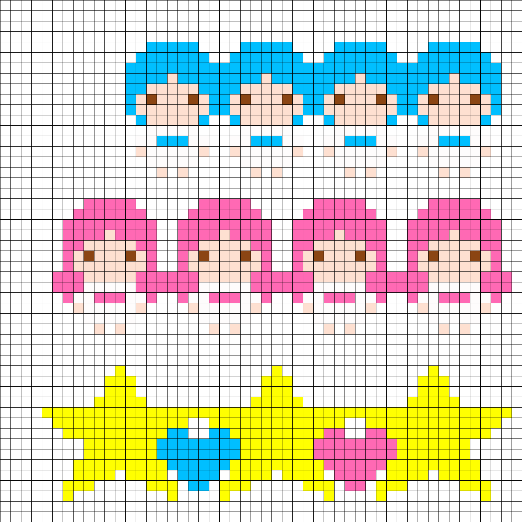 3 Little Twin Stars Perler Cuffs