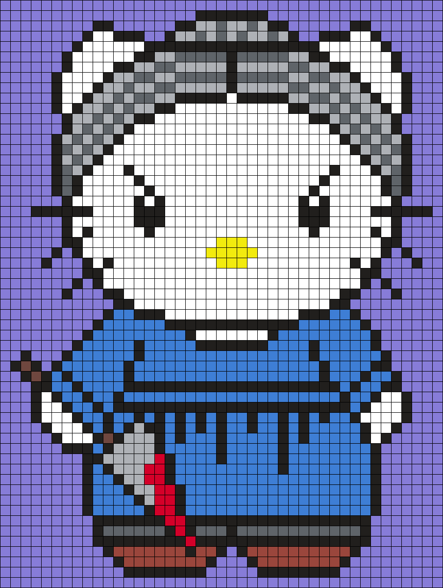 Norman Bates Hello Kitty Sq Perler Bead Pattern / Bead Sprite