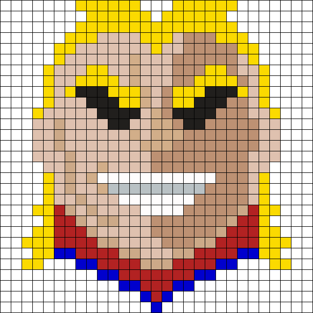 All Might Face Perler Bead Pattern / Bead Sprite