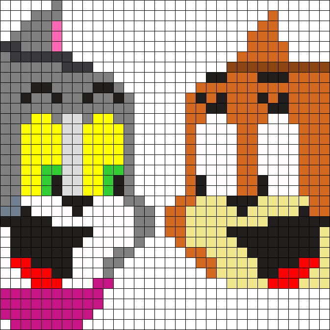 Tom N Jerry Heads Perler