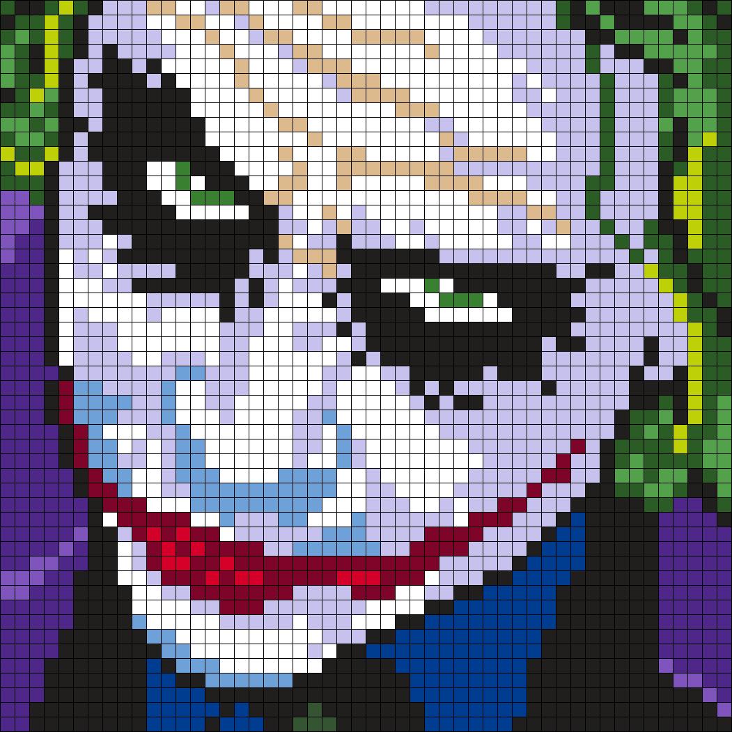 Heath Ledger As The Joker (Square) Perler Bead Pattern | Bead Sprites ...