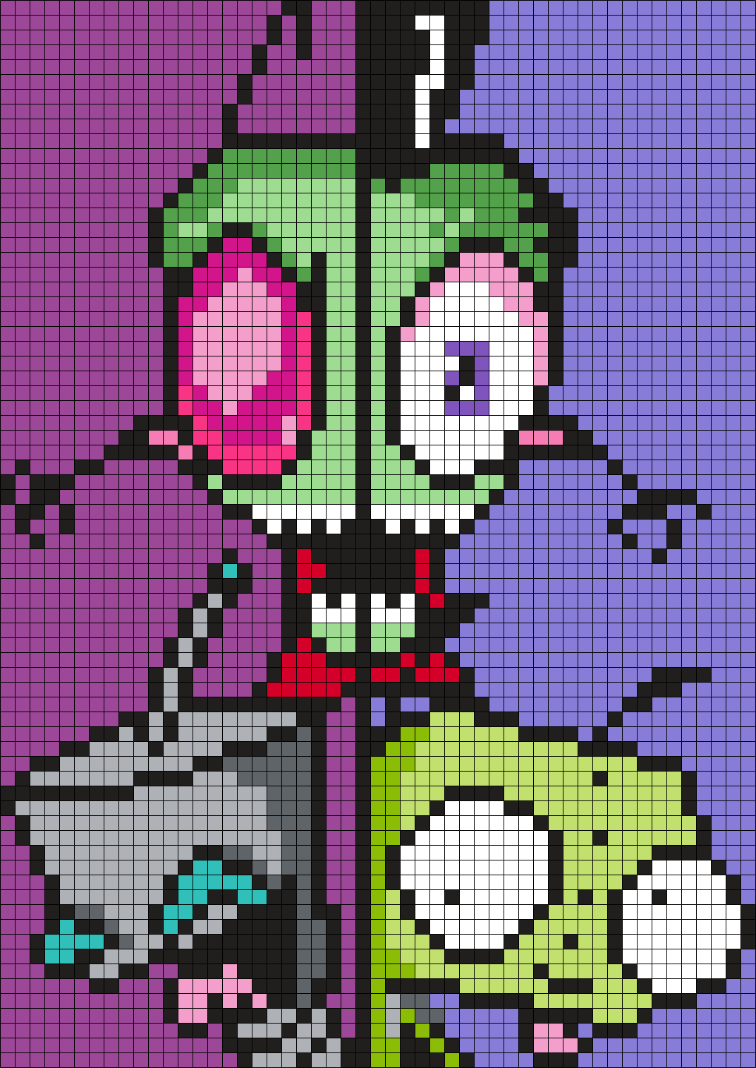 Invader Zim And Gir,  2 Halves Poster (Square)