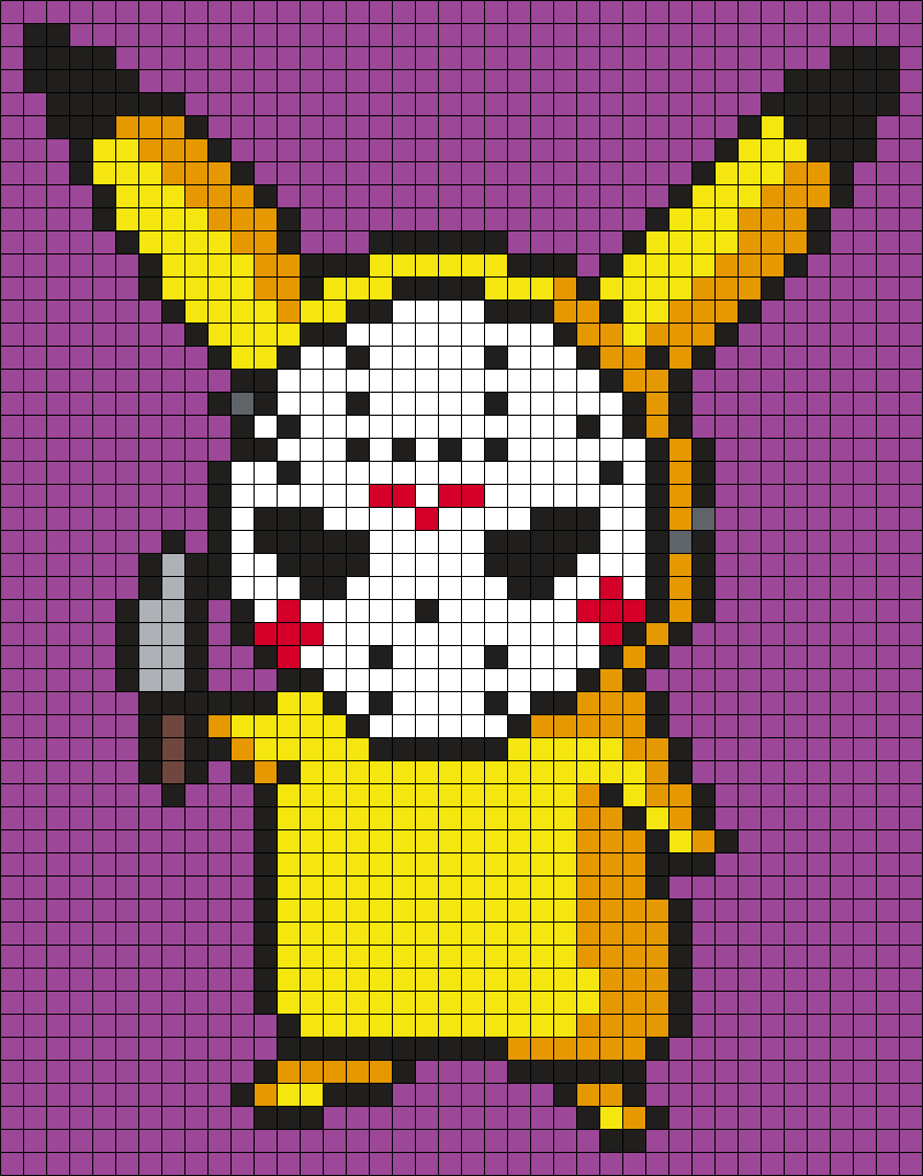 Pikachu In A Jason Voorhees Mask Perler Bead Pattern / Bead Sprite
