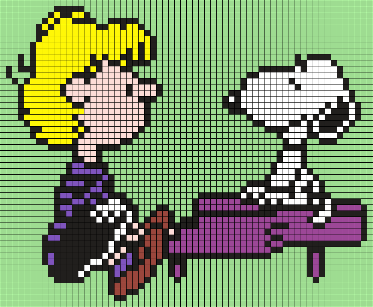 Schroeder And Snoopy From Snoopy And The Peanuts Gang (Square) Perler Bead Pattern / Bead Sprite