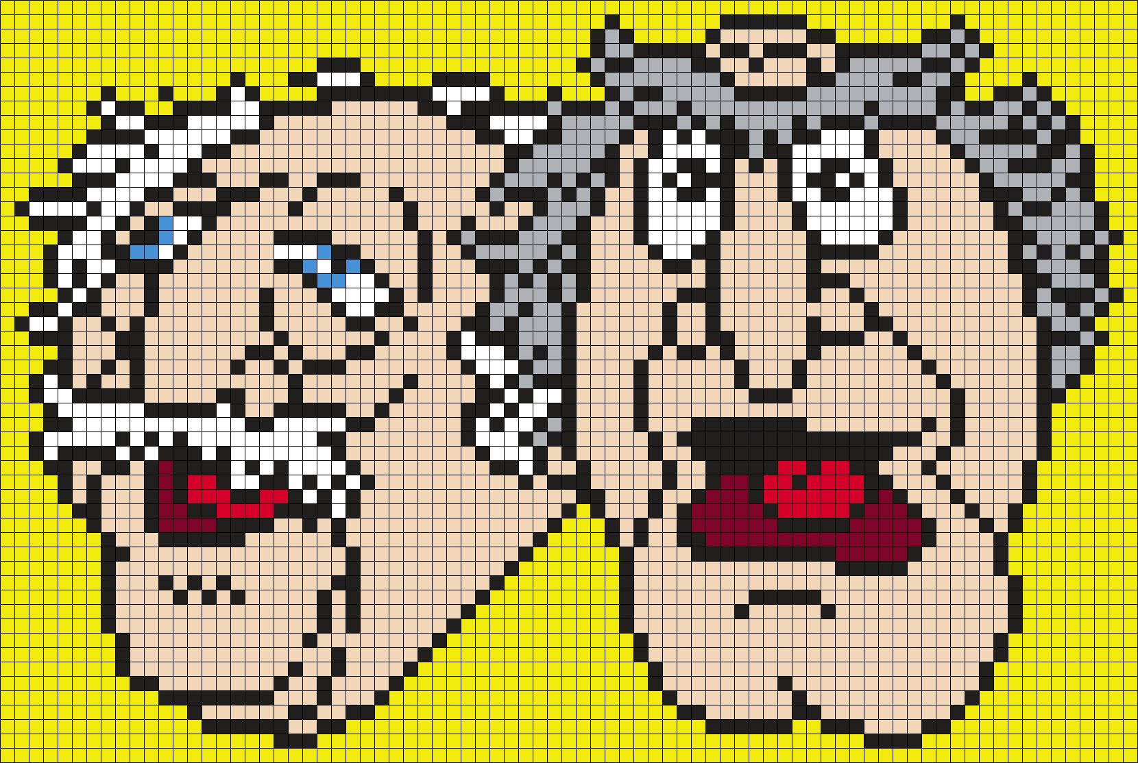 Waldorf And Statler From The Muppets Perler Bead Pattern / Bead Sprite