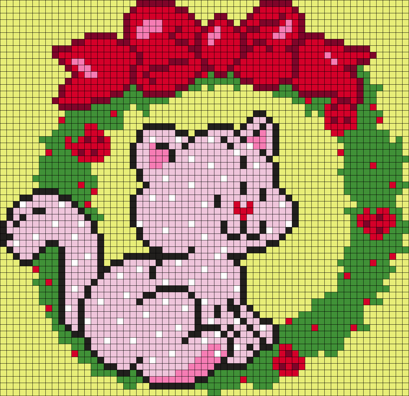 Custard In A Strawberry Wreath From Strawberry Shortcake Perler Bead Pattern / Bead Sprite
